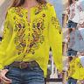 Mode Femme Imprimé Floral Manche Longue Casuel en vrac Tops Haut Shirt Plus
