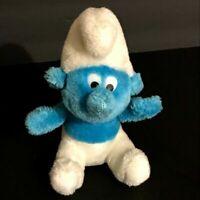 "Vintage SMURF Stuffed Plush 1980 Peyo Wallace Berrie Blue White 8"""