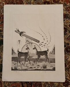 """Vintage """"SONG OF THE FLUTE"""" Woody Crumbo Pencil Signed - 21"""" x 17"""" NO NUMBER"""