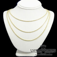 "1/10th 10k Yellow Gold Hollow Rope 2.5mm Diamond Cut Necklace Chain(16""~30"") New"