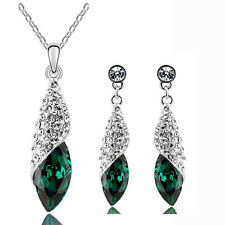 Crystal Emerald Green Teardrop Christmas Jewellery Set Earrings & Necklace S810