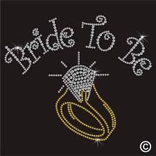 Hotfix Rhinestone WEDDING BRIDE TO BE Diamante Transfer Iron On Crystal Motif