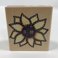 Rubber Stampede Stamp A1332E Country Sunflower Patchwork Plaid Center Stitched