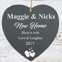 New Home Gift Large Slate Heart Personalised Plaque SLA210-18