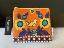 New Vtg 60s 70s Fabric Card Coin Zip Purse Pouch Scandi Flower Daisy Check Bird