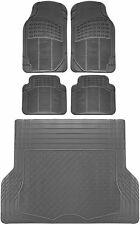 5pc All Weather Heavy Duty Rubber SUV Floor Mat Gray 2 Row & Trunk Liner 3A