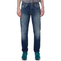Nudie Herren Regular Tapered Fit Bio Denim Jeans Hose - Steady Eddie Old Sea