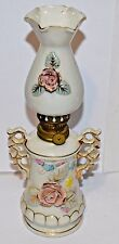 Vintage Porcelain oil lamp lantern raised roses flowers Japan collectible
