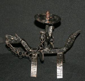 Vintage  Wrought Iron Art Figurine Candle Holder