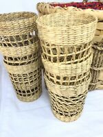 VTG Lot 6 Wicker Rattan Glass Picnic Tumbler Holders With Signed Basket Holder