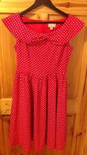 Lindy Bop Red White Cotton Polka Dot Dress Rockabilly 50s Swing Size 10 BNWOT