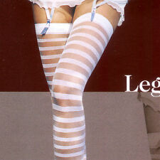 SHEER OPAQUE STRIPE THIGH HI STOCKINGS IN BLACK  PINK  BY LEG AVENUE