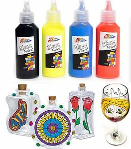 4 Pk GLASS PAINTS VIBRANT FAST DRYING ART & CRAFT KIDS HOBBY GIFT DECORATION