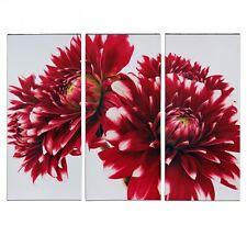 Three Red Dahlias Triptych Canvas Picture - 3 Panel Split Artwork H90 x W120cm