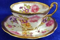 Beautiful EB Foley England Purple/Pink Floral 24k Gold Trim Tea Cup & Saucer Set