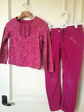 Lands End Girls Size 7 8 LOT Corduroys Long Sleeve Shirt Pink