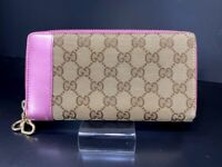 Auth GUCCI GG Pattern Heart Charm Pink Leather Bifold Long Wallet Purse Y1156