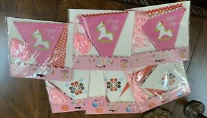 Party Flag Banner Lot Pony Pink Rocking Horse Girls Birthday Baby Shower New