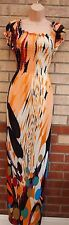 STACEY B MULTI COLOR ART PRINT LYCRA GYPSY SUMMER ABSTRACT LONG MAXI DRESS S