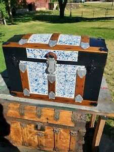BlackDog Antique Steamer StageCoach Trunk Blue Dome Top c:1800's