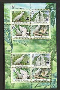 SOLOMON ISLANDS 2012 WWF BIRDS COCKATOO MS OF 8 fine UM/MNH
