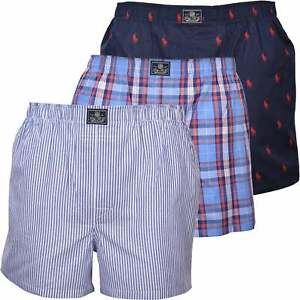 Men's Polo Ralph Lauren 3-Pack Woven Plaid/Logo/Stripe Boxer Shorts, Navy/Blue