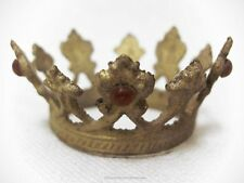 """Petite Santos Crown, Gold with Red Rhinestones, Tiny Crown  at 1 -1/8"""" Across"""