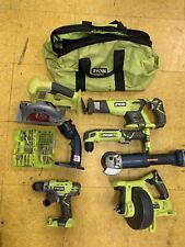 Ryobi 7 Piece Cordless Tool Kit Pre-owned Drill, Saws, Drain Auger & More!