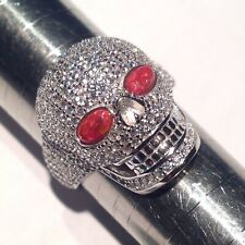 Day of the Dead Skulls Head Cz Ring Sterling Silver Biker Rock Gothic Size P½