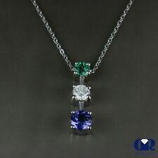 "1.80 Ct Diamond Emerald & Tanzanite Three Stone Pendant 14K Gold With 16"" Chain"
