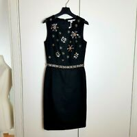Boden Black Pencil Dress, Embellished Sequins Beads Size 6 BNWT XMAS
