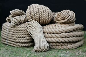 Natural Jute Hessian Rope Twine Braided Twisted Decking Garden Boat 6-60mm thick