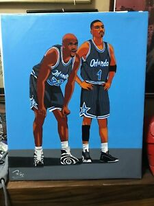 """Shaq O'neal and Penny Hardaway Oil Painting on Canvass 20"""" x 24"""" #S&P01"""