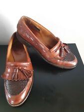 Allen Edmonds Cody Loafers Dress Shoes Walnut Brown Mens Size 8 1/2 Tassle Woven