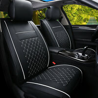 1PCS Black white Car Seat Cover Cushions PU Leather Front Set Universal