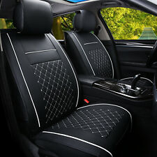 Black white Car Seat Covers Cushions Protectors PU Leather Front Set Universal