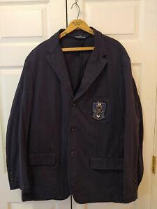 Men Polo Ralph Lauren Navy Blazer Jacket Racquet Eagle Crest Logo 67 Size XXL