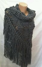 New unique crochet handmade mohair shawl sweater wrap scarf with drops of lurex