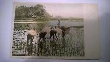 Antique Real Photo with some paint Oriental Postcard 1905 sent to England