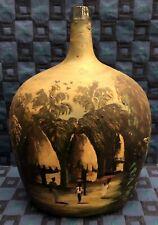 Rare Ancienne Grosse Bonbonne / Dame Jeanne Peint H 39 L 28 l 18 Cm