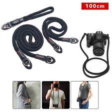 100cm Camera Strap Black Rope Shoulder Neck Strap Handmade For Leica / Sony