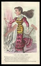 G23 - HAND-TINTED VICTORIAN MECHANICAL VINEGAR VALENTINE CARD WITH MOVING ARM