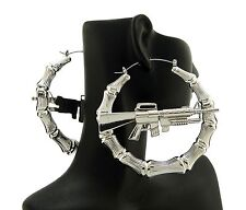 Celebrity Ghetto Style Machine Gun Bamboo Hoop Hollow Pincatch Fashion Earrings