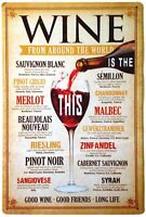 "Wine From Around the World Retro Metal Sign 8"" x 12"""