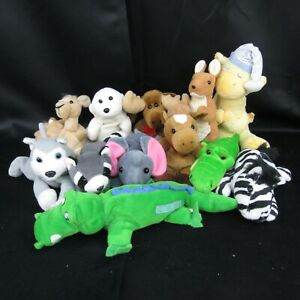 "Lot of 12 Small Animal Plush 8"" Wolf Kangaroo Raccoon Seal Zebra Alligator Camel"