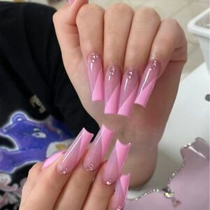 Long Coffin Fake Nails Glossy Pink With Rhinestones Artificial Press On Nail Tip