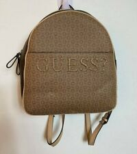 GUESS Rigden Embossed Logo Backpack Brown and Taupe