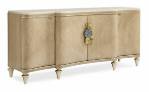 Handmade Koto Veneer Champagne Gold Buffet with Marble Top