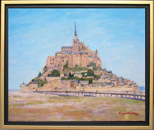 SUMMER IN MONT SAINT-MICHEL~LISTED ARTIST~ORIGINAL OIL PAINTING MARC FORESTIER