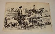 1887 magazine engraving ~ Country Scenes, Lambing Time